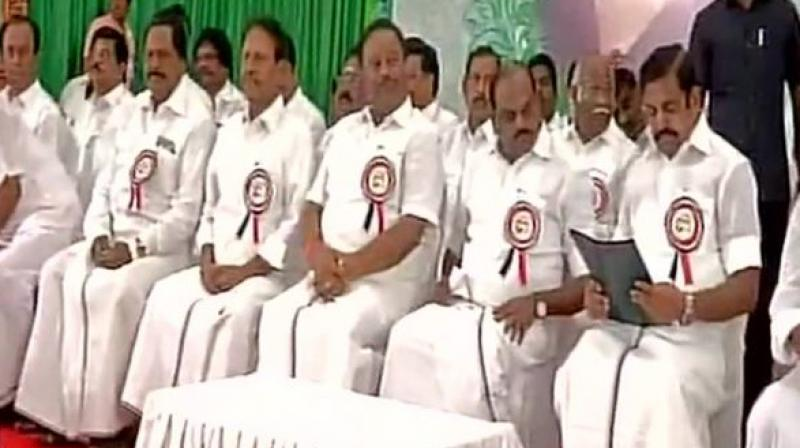 AIADMK general council meet in a resolution also said the Tamil Nadu Chief Minister, E Palanisamy and his deputy, O Panneerselvam, shall retrieve the party and its symbol. (Photo: ANI | Twitter)