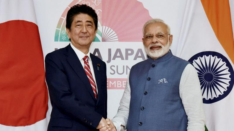 Japanese Prime Minister Shinzo Abe also addressed the press statement and reiterated his strong support to initiatives like Make In India, Digital India and others and also appreciated Prime Minister Narendra Modi' economic reforms especially Goods and Services Tax (GST). (Photo: PTI)
