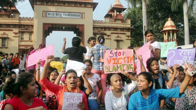 The Banaras Hindu University (BHU) students have been protesting near the university's main gate since Thursday against the rising eve-teasing incidents on the campus. (Photo: PTI)
