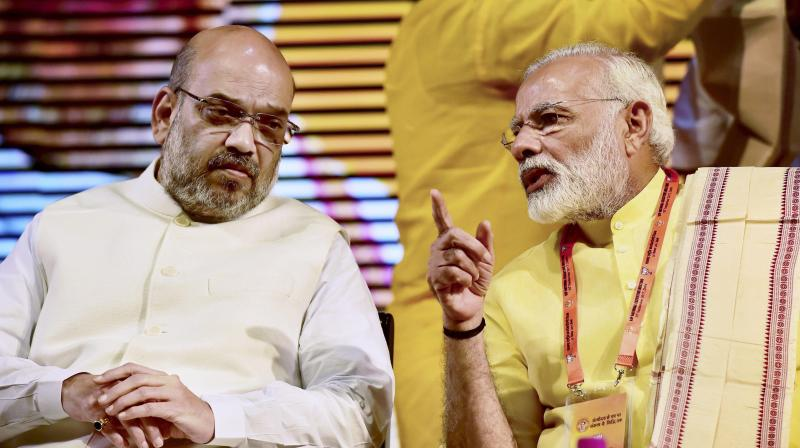 BJP national President Amit Shah and Prime Minister Narendra Modi at BJP National Executive Meeting in New Delhi. (Photo: PTI)