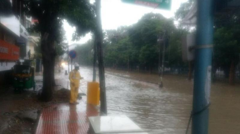 Roads were flooded in Madivala and HSR Layout, almost a repeat of July 2016 flooding. (Photo: ANI | Twitter)