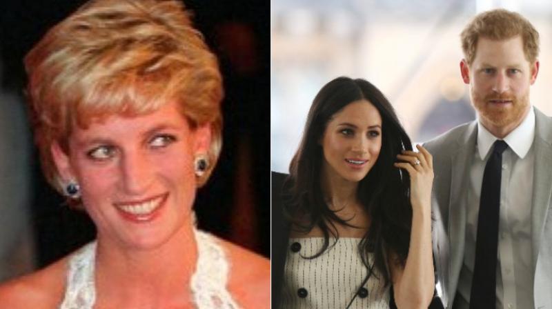 Princess Diana (left) Meghan Markle and Prince Harry (right). (Photo: AP)
