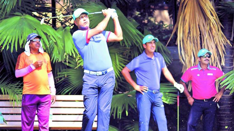 Jeev Milkha Singh and Shiv Kapur at the Habitat for India Golf Charity Tournament in Mumbai on Sunday.