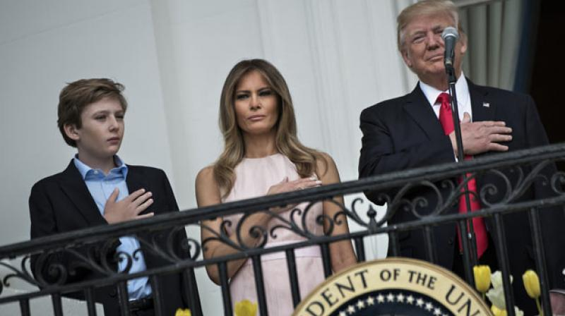 US President Trump, First Lady Melania Trump and Barron Trump. (Photo: AFP)