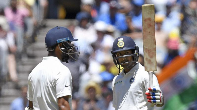 Agarwal became only the seventh Indian opener to score a half-century on Test debut and also registered the highest score for a debutant Indian batsman on Australian soil. (Photo: AP)