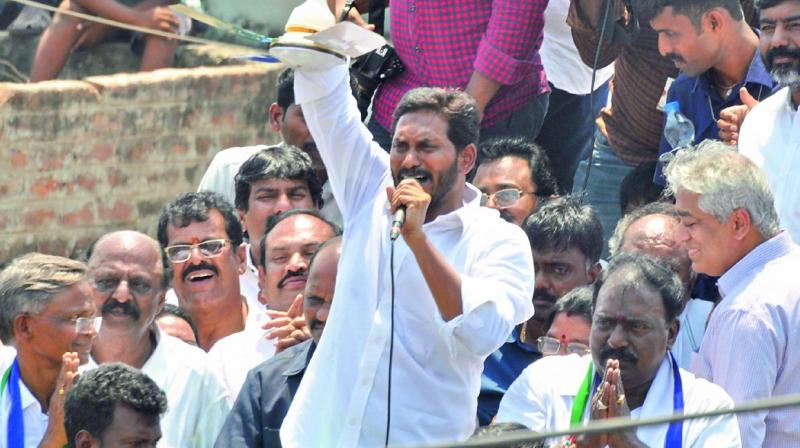 YSRC chief Y.S. Jagan Mohan Reddy addresses a public meeting at Guduru in Nellore district on Sunday.  (Image DC)