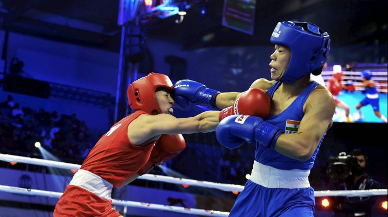 Mary Kom entered the event with a remarkable tally of five gold medals and a silver to her credit. She last won a world championship medal in 2010 -- a gold in the 48kg category. (Photo: PTI)