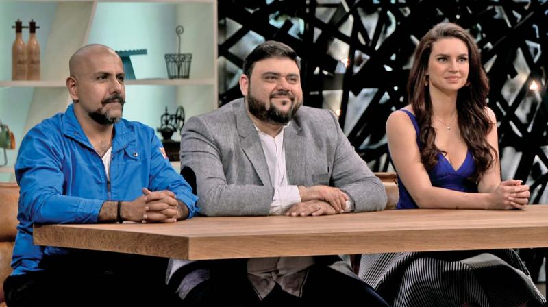 Vishal Dadlani, Riyaaz Amlani and Sarah Todd in the show Grilled