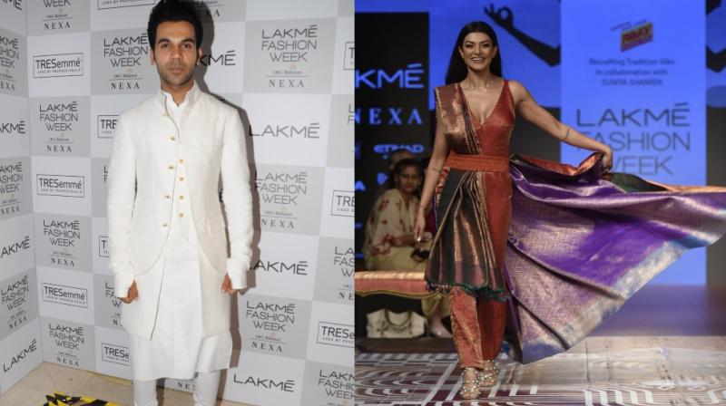 Lakme Fashion Week has begun and it began with Rajkummar Rao's white attire and in contrast, Sushmita Sen's colourful outfit.