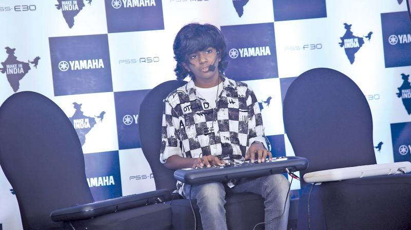 Lydian Nadhaswaram was seen performing at the launch of  Yamaha's new PSS series in the city recently. Photo: Romani Agarwal