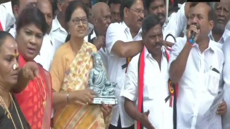 The opposition parties condemned the tweet, calling it an attempt to allegedly 'saffronise' Thiruvalluvar.  (Photo: ANI)