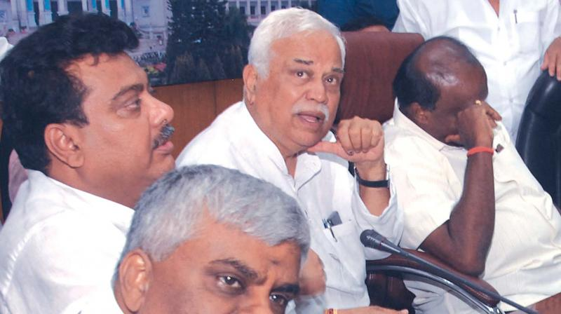 Chief Minister H.D. Kumaraswamy and ministers H.D. Revanna, M.B. Patil and R.V. Deshpande at  a press meet in Bengaluru on Friday