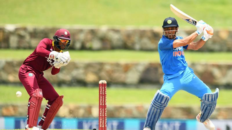 MS Dhoni scored unbeaten 78 to set up India's 93-run win over West Indies in the 3rd ODI of 5-match series. (Photo: AFP)