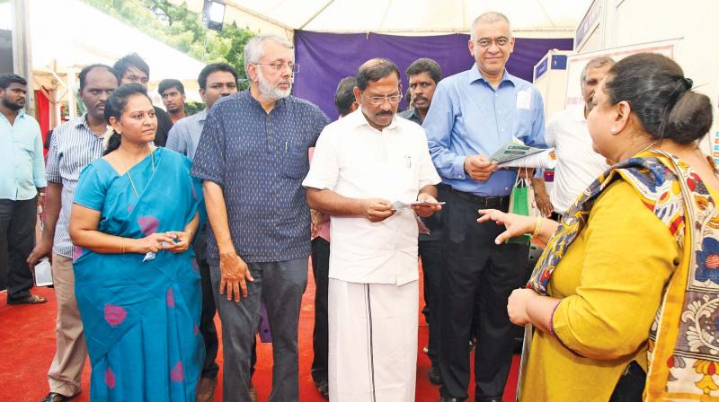 L to R: Latha Rajan, the Managing Trustee of CIOSA, CEO of Gundfos, Ranganathan, Ma Foi K Pandiarajan, the Hon'ble Minister for Tamil Culture and Tamil Language, Archaeology and chairman  of TVS Capital Funds Ltd Gopal Srinivasan on the inaugural of Seva Mela
