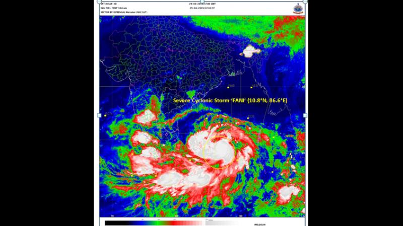 India Meteorological Department (IMD) has informed that cyclone 'Fani' intensified into severe cyclone at 5:30 pm on April 29 and it is to intensify further and move towards Odisha coast. (Photo: Twitter/ @Indiametdept)