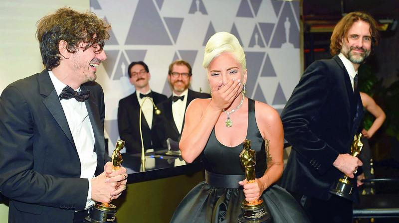 Lady Gaga receives the Best Original Song award for Shallow from A Star is Born in the 91st Annual Academy Awards Governors Ball at the Hollywood & Highland Centre in Hollywood, California, on Monday. (Photo: AFP)