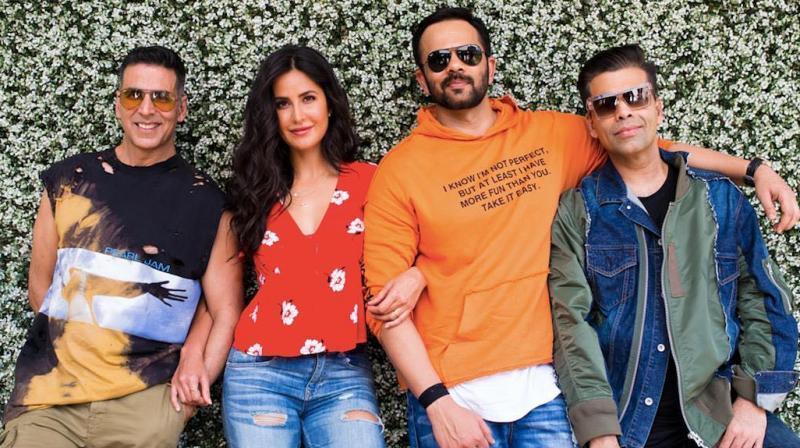 Sooryavanshi team - Akshay Kumar, Katrina Kaif, Rohit Shetty and Karan Johar. (Photo: Instagram)