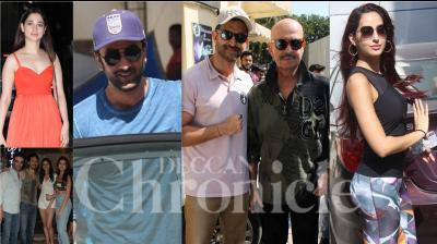 Bollywood celebrities like Ranbir Kapoor, Hrithik Roshan, Nora Fatehi, Tiger Shroff, Tara Sutaria, Ananya Panday and others were snapped in the city of dreams, Mumbai. (Photos: Viral Bhayani)