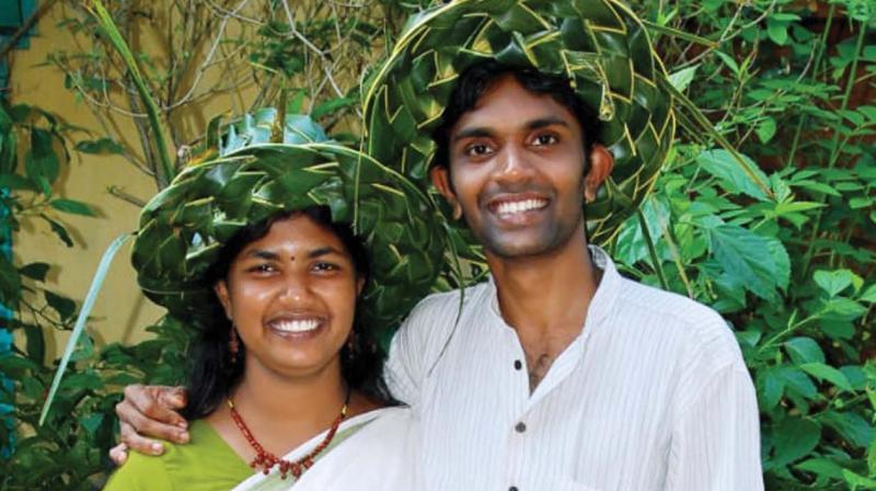 Vani and Vijith in their 4.5 acre forest-cum-farming nursery.