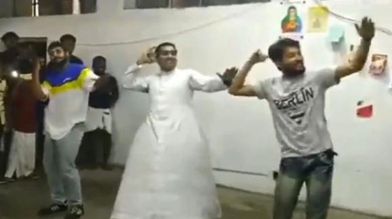 Recently, a video of a priest from Delhi shaking a leg to 'Kudukku' has gone viral online. (Photo:  Screengrab)