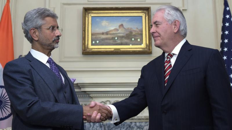 Secretary of State Rex Tillerson shakes hands with Indian Foreign Secretary Subrahmanyam Jaishankar at the State Department in Washington. (Photo: AP)