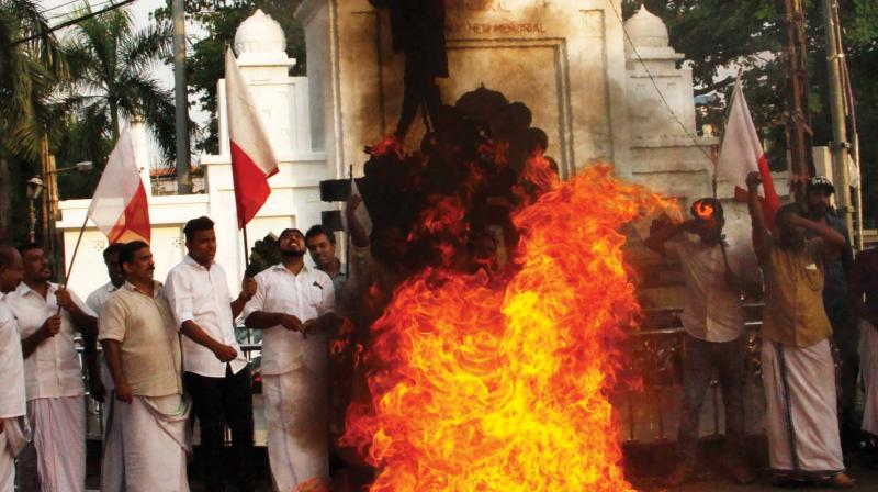 The incident occurred when a BJP worker poured petrol on the already lit effigy. (Photo: Representational)