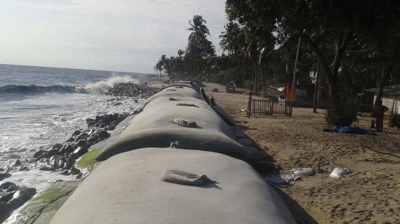 Geo tubes laid at the coast of Neerkunnam