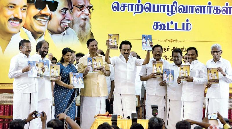 DMK President M.K. Stalin releases election manifesto for the Lok Sabha poll at party headquarters in Chennai on Tuesday. (Image DC)