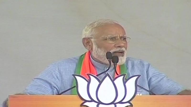 Modi also attacked the opposition alliance in Uttar Pradesh, asking how those not fighting all the Lok Sabha seats in the state can give a prime minister. (Image: ANI twitter)