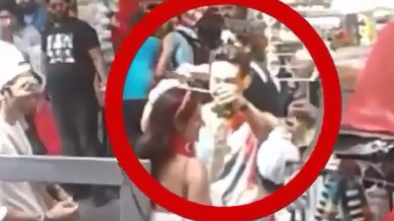 Screencapture of Tiger Shroff and Disha Patani from 'Baaghi 2' sets.