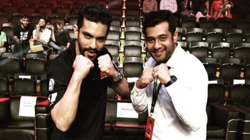 Recently Angad was spotted at the Super Boxing League.
