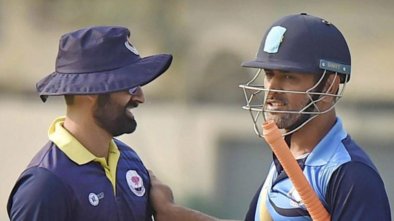 J&K skipper and India international Parveez Rasool requested MS Dhoni to have a chat with the boys. (Photo: PTI)
