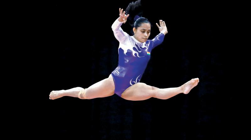 The two events are part of an eight-event qualifying system for the 2020 Olympics, under which the gymnasts will make the cut based on the their top three scores. (Photo: AP)