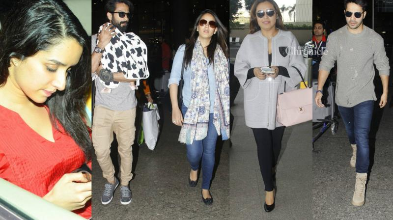 Numerous celebrities were seen at various locations in Mumbai on Monday. (Photo: Viral Bhayani)