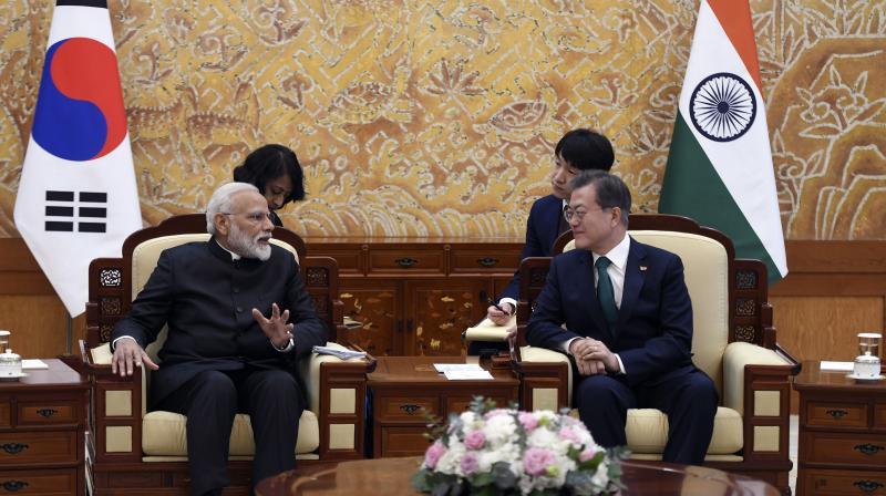 Prime Minister Narendra Modi held talks with South Korean President Moon Jae-in, in Seoul, earlier on Friday. (Photo: AP)