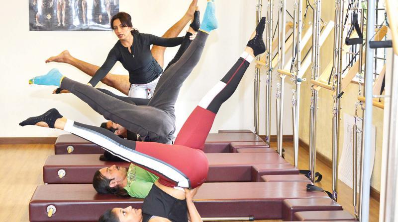 Kavita Prakash training in her fitness centre.