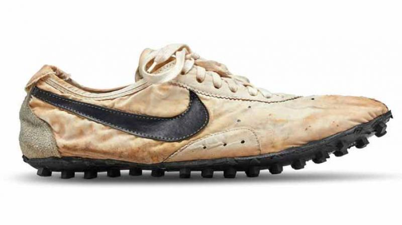 Nike co-founder Bill Bowerman designed the flat racing 'Moon Shoe' which was made for runners at the 1972 Olympic trials. (Photo: Twitter)