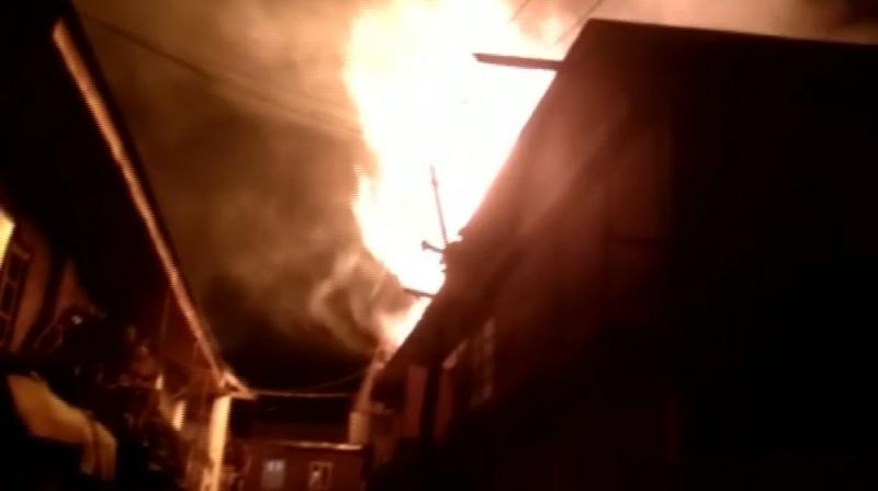 Fire broke out in municipal committee building in south Kashmir's Shopian district, today around 8 pm. (Photo: Twitter | ANI)