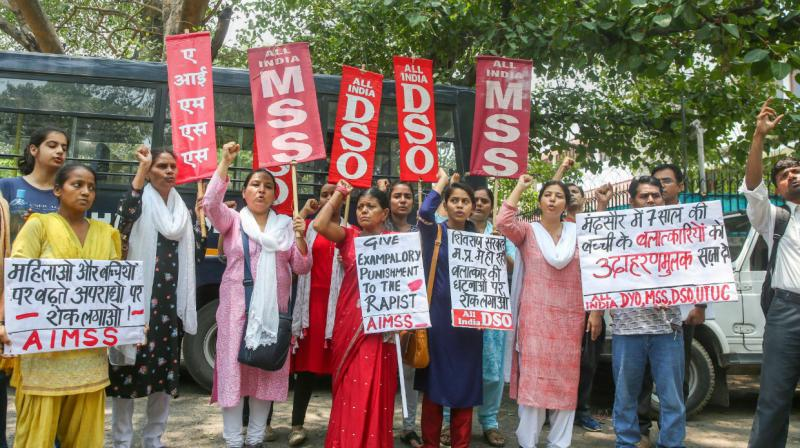 Protests erupted over the abduction and rape of an 8-year-old girl in Mandsaur. (Photo: PTI)