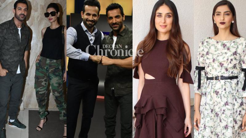 The teams of 'Veere Di Wedding' and 'Parmanu: The Story of Pokhran' were spotted during promotional events for their films in Mumbai on Monday. (Photo: Viral Bhayani)