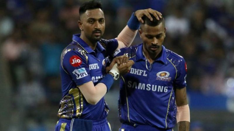 """Mumbai Indians all-rounder Krunal Pandya believes """"cricket is a priority"""" for his brother and teammate Hardik Pandya, who has been named in India's 15-man World Cup squad. (Photo: BCCI)"""