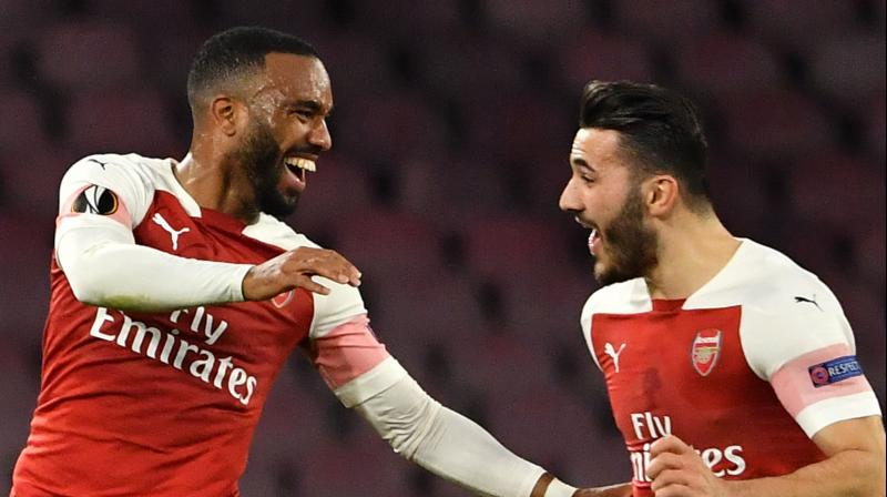 Alexandre Lacazette opened the scoring as he scored Arsenal's only goal in the second leg quarterfinal to guide the club towards the last four stage. (Photo: AFP)