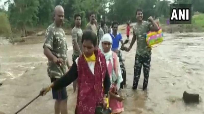 Incessant rainfall has led to flooding in various parts of Chhattisgarh. (Photo: ANI)