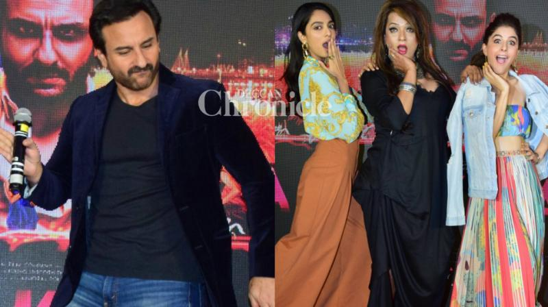 The team of the film 'Kaalakaandi' came together to launch the song 'Swagpur Ka Chaudhary' in Mumbai on Saturday. (Photo: Viral Bhayani)
