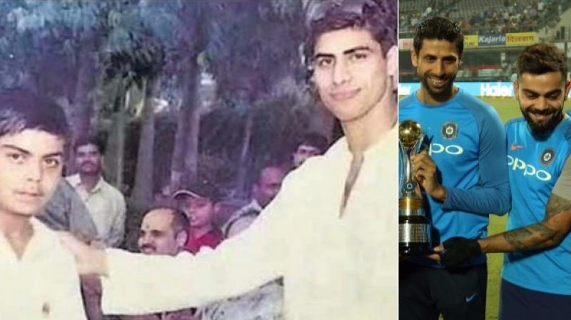 "Asked about a photo of Nehra giving an award to a young Kohli long time back, the Indian captain said, ""That was back in 2003 after he had come back from the World Cup. I was 13 then and struggling for a place in the school team."" (Photo: Twitter/BCCI)"