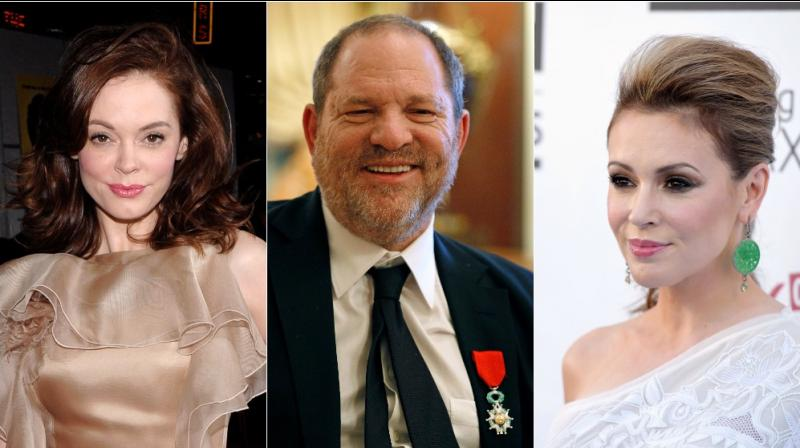 "From left to right: Rose McGowan, Harvey Weinstein and Alyssa Milano. The words ""me too"" have now become an awakening call and is trending on social media after women were asked to share if they had ever been sexually assaulted or harassed. (Photo: AP)"