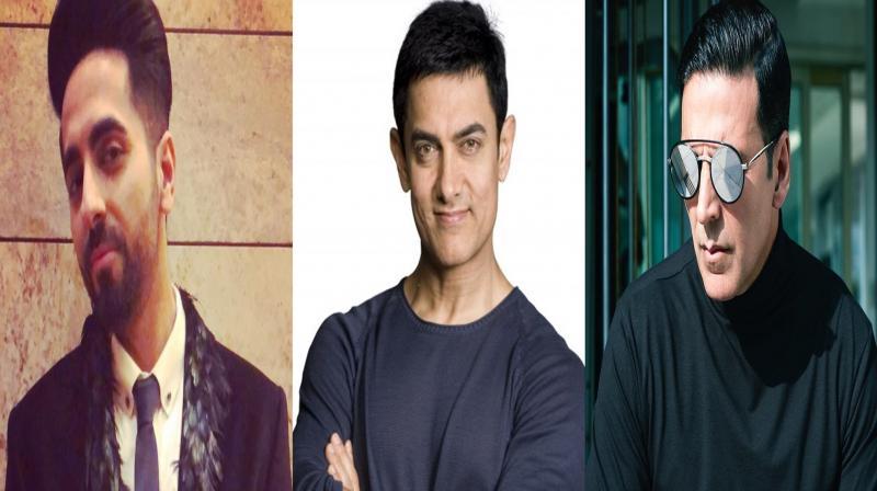 Ayushmann Khurrana, Aamir Khan and Akshay Kumar. (Photo: Twitter/Instagram)