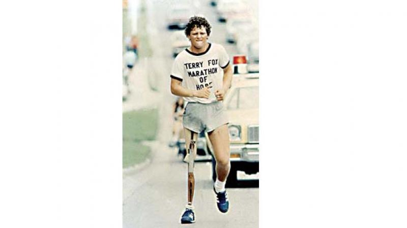 The event, held in different parts of the world to commemorate Canadian cancer activist Terry Fox and his Marathon of Hope to raise funds for cancer research.