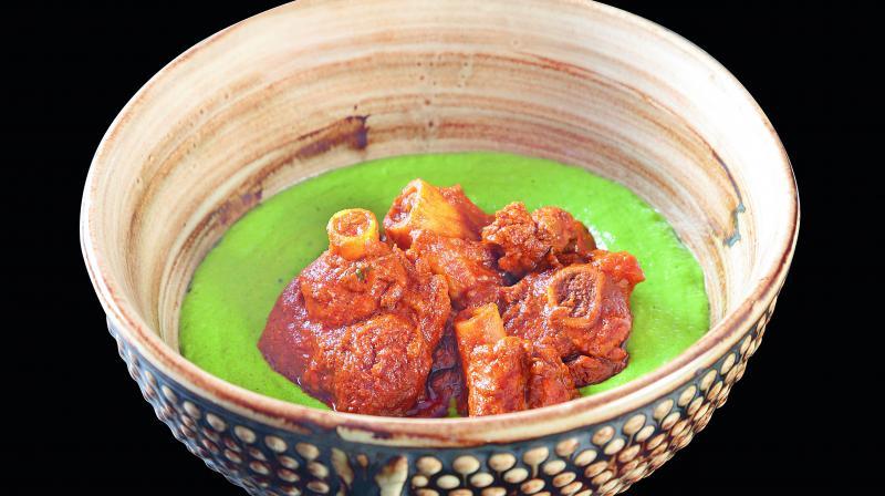Ghee Mutton roast, spinach upma.