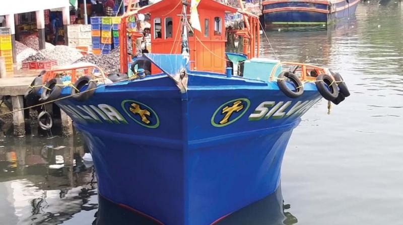 Fishing boat 'Sylvia' which was hit by a Singapore-based ship in the early hours of Saturday.